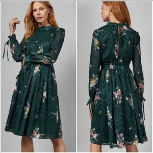 {Ted Baker} Sofiya Floral Ribbon Sleeve Dress